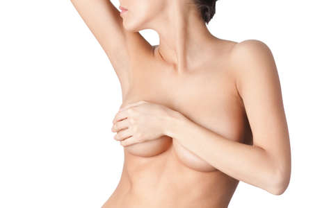 nude breast: Beauty of the body, isolated, white background Stock Photo
