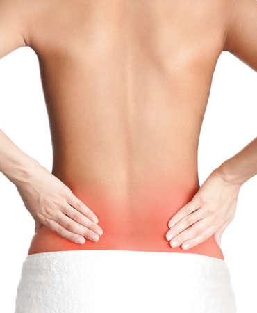 espalda: Espalda inflamada, aislado, fondo blanco