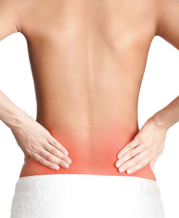 woman back: Inflamed back, isolated, white background