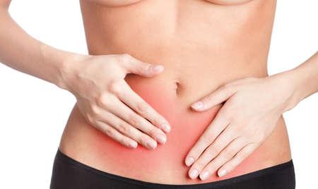 douleur main: Mal de ventre, isol�, fond blanc Banque d'images
