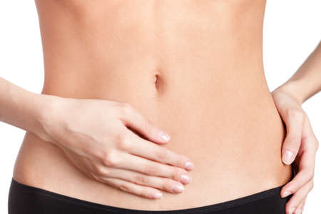 stomach: Slim belly, isolated, white background