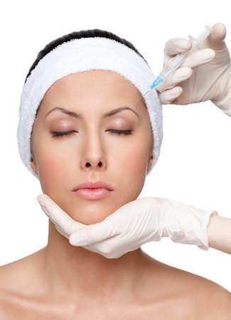 Botox upper lids correction, isolated, white background photo