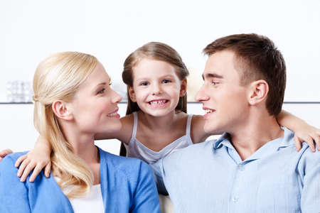 Problem-free family has a rest photo