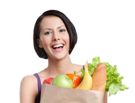 Healthy shopping, Isolated, white background photo