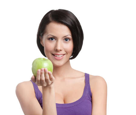 propose: Healthy lifestyle. Young lady with green apple, isolated, white background