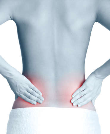 body pain: Inflamed back, isolated, white background. Black-and-white, monochrome
