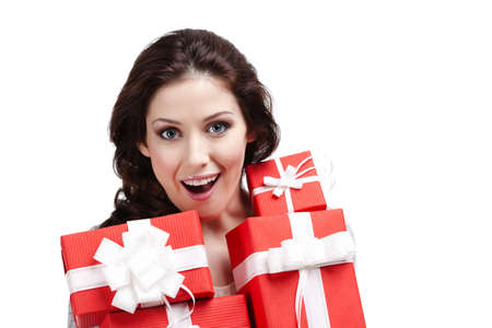 wondered: Wondered woman hands a lot of present boxes with white bows, isolated on white