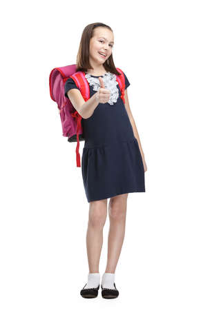 Schoolgirl with pink briefcase, isolated, white background photo