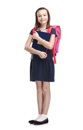ir al colegio: Colegiala con el malet�n, aislado, fondo blanco