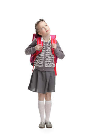 back pack: Pupil dreams to go to school, isolated, white background