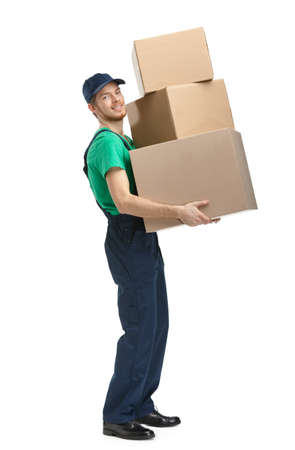 delivers: Workman delivers three boxes, isolated, white background Stock Photo