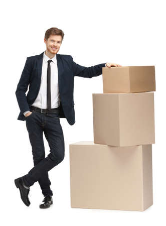 send parcel: Advisor sales the goods, isolated, white background
