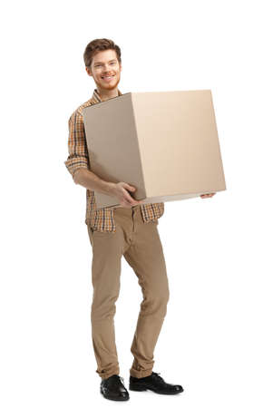 send parcel: Rounds man carries the box, isolated, white background