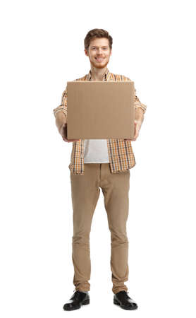 deliveryman: Deliveryman gives the parcel, isolated, white background