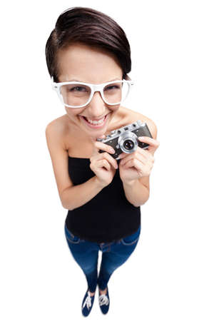 Girl with retro photographic camera, isolated on white, wide angle photo