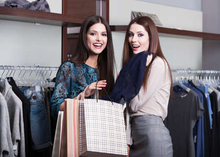 Two friends go shopping photo