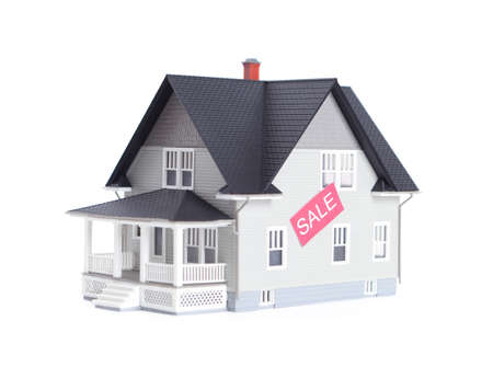 Realty concept - home architectural model with sale sign, isolated
