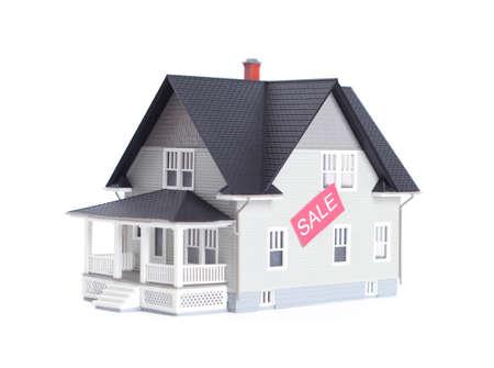 Vastgoed concept - thuis architectonisch model met verkoop teken, geïsoleerd
