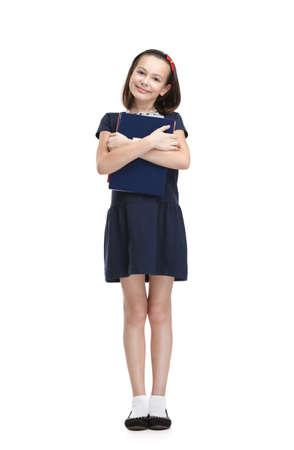cheer full: Smiley schoolgirl carries her books, isolated, white background