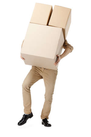 Man hardly carries the parcel, isolated, white background Stock Photo - 15044389
