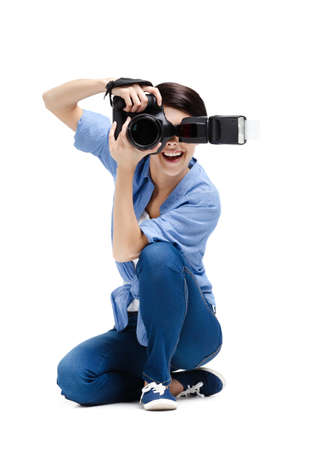 gladly: Woman-photographer takes images, isolated on a white