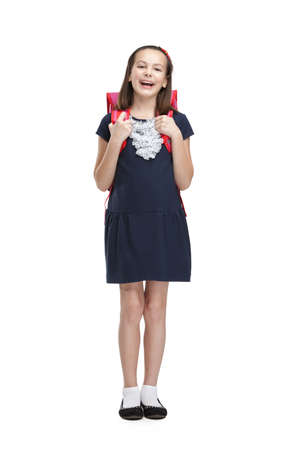 school uniform girl: Laughing schoolgirl with the briefcase, isolated, white background