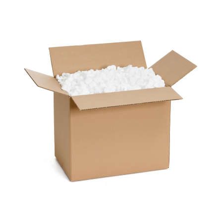 packing boxes: Opened cardboard container with filling material, isolated, white background