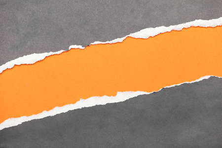 ripping: Torn edge paper with orange copyspace for your message Stock Photo