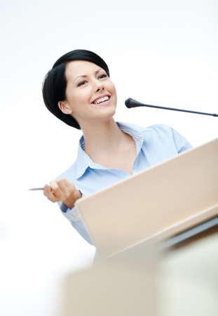 adult intercourse: Female presenter at the podium. Business training