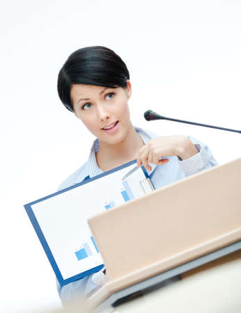 adult intercourse: Female presenter at the podium handing diagram. Business conference