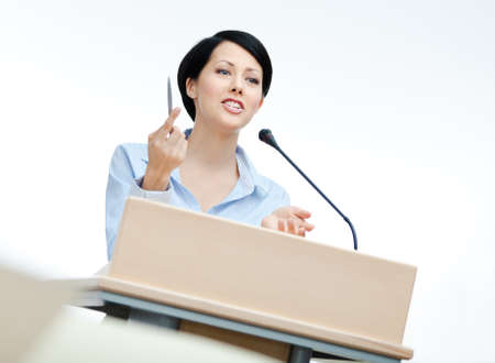 adult intercourse: Female speech maker at the podium. Business training