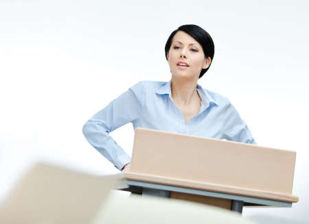 adult intercourse: Female presenter at the board. Business training
