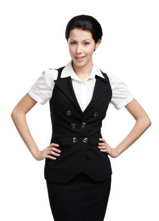 skirt suit: Portrait of business woman in black vest, isolated on white Stock Photo