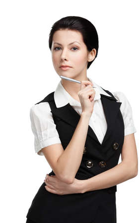 pencil skirt: Portrait of young businesswoman in black vest, isolated on white