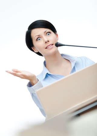 adult intercourse: Female orator at the podium. Business training