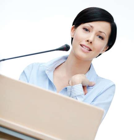 adult intercourse: Female speaker at the podium. Business training