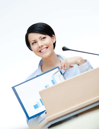 adult intercourse: Female executive at the board handing diagram. Business conference