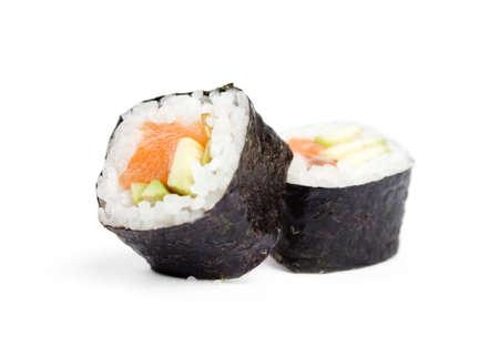 nigiri: Two sushi fresh maki rolls, isolated on white