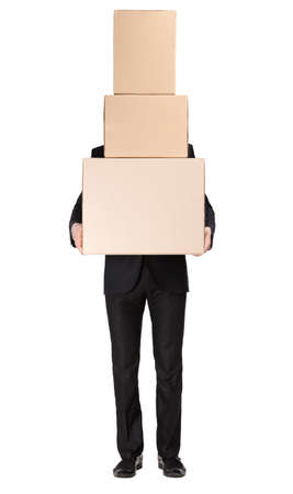 porter: Manager keeping pile of cardboard boxes, isolated on white