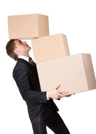 pasteboard: Manager holding pile of pasteboard boxes, isolated on white