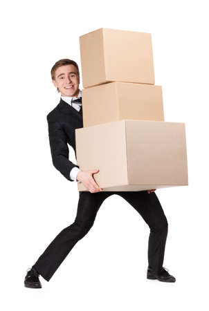 carries: Manager handing pile of boxes, isolated on white Stock Photo