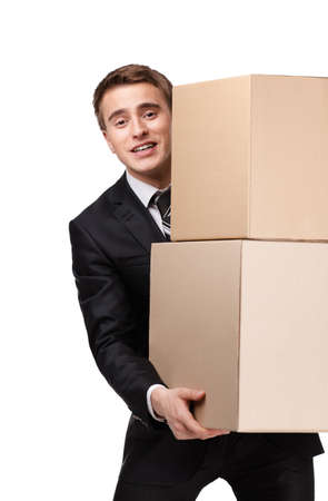 pasteboard: Manager keeping pile of pasteboard boxes, isolated on white Stock Photo