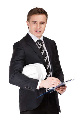 Portrait of businessman with helmet, isolated on white Stock Photo - 15530481