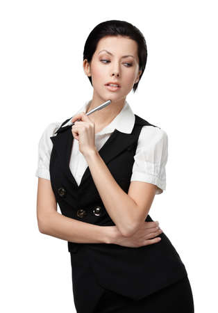 Portrait of business woman with pencil in black vest, isolated on white photo