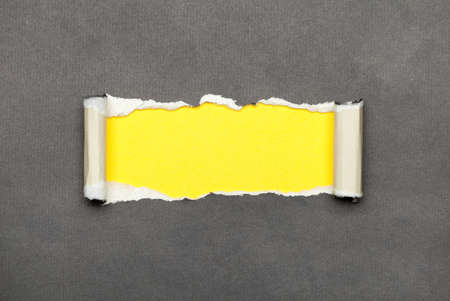 Torn curled paper with yellow space for your message photo