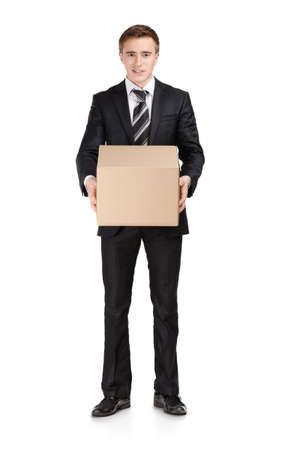Manager in suit holding parcel box, isolated on white photo