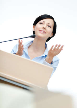 adult intercourse: Female orator at the board  Business conference