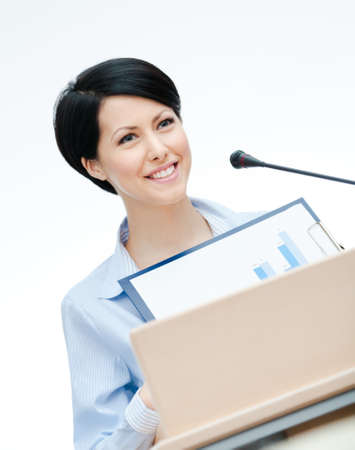 adult intercourse: Female lecturer at the podium handing diagram  Business conference
