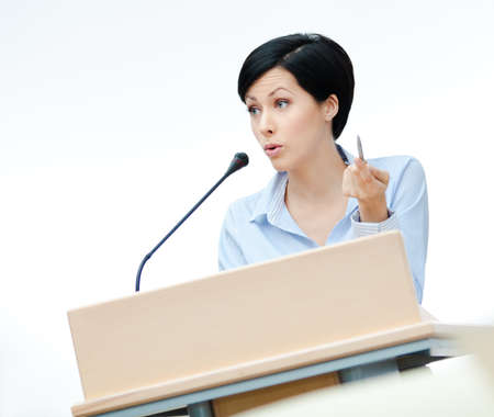 adult intercourse: Female speech maker at the board  Business conference