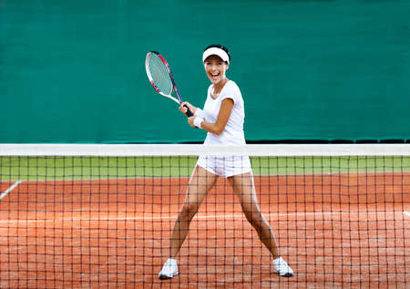 Tennis: Woman in sportswear spielt Tennis beim Training Lizenzfreie Bilder